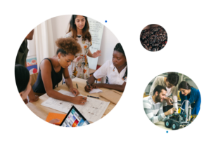 Collage of people working and learning together