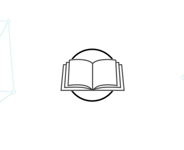 A cartoon drawing of a book surrounded by geometrical lines