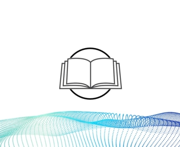 A cartoon drawing of a book with a wave of blue and green lines below it