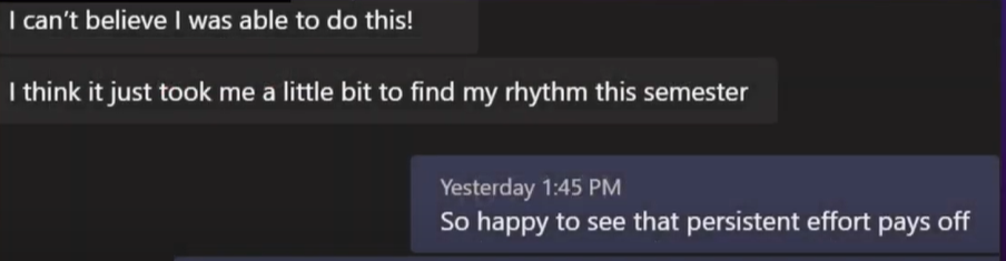 Microsoft Teams message between a student and Dr. Chen