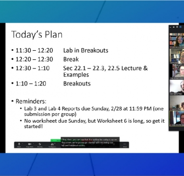 Zoom meeting screenshot with a shared screen showing a class period outline with closed captions and five smiling people.