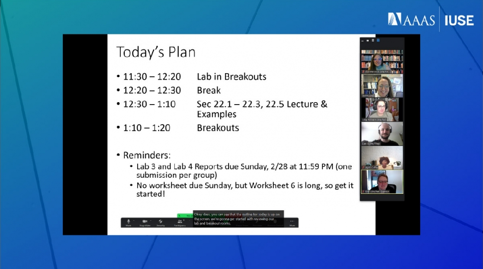 """Zoom meeting screenshot with a shared screen showing a class period outline with closed captions and five smiling people."""""""