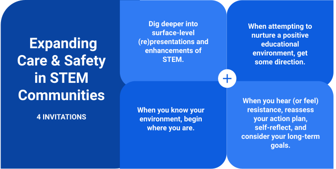 A chart showing four invitations for expanding care & Safety in STEM Communities. These four invitations are described in detail in the post below.