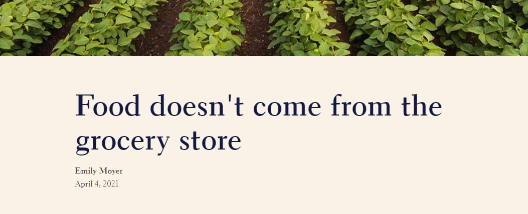"""An image of leafy crop rows with words below that read """"Food doesn't come from the grocery store by Emily Moyer April 4, 2021"""""""