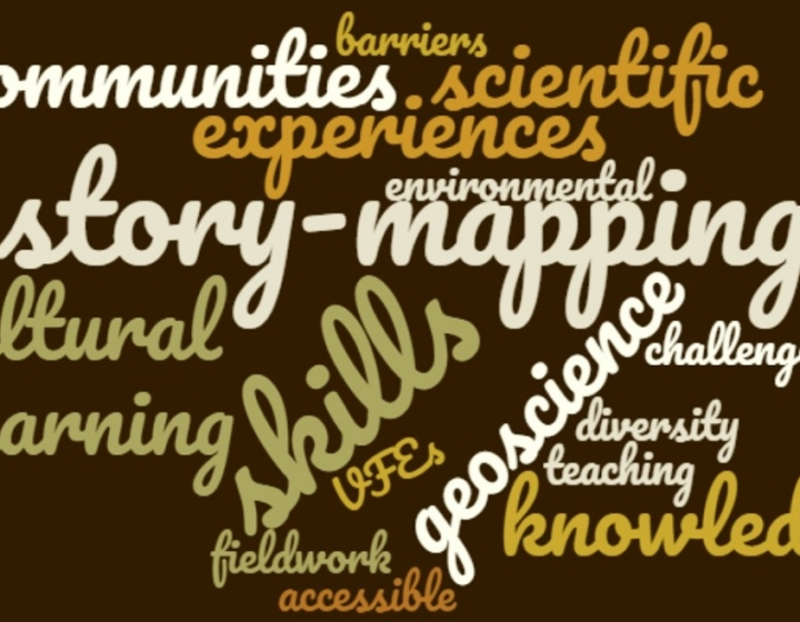 A word cloud showing terms used in the blog post such as: story-mapping, communities, scientific experiences, geoscience, accessible, knowledge, diversity, teaching.