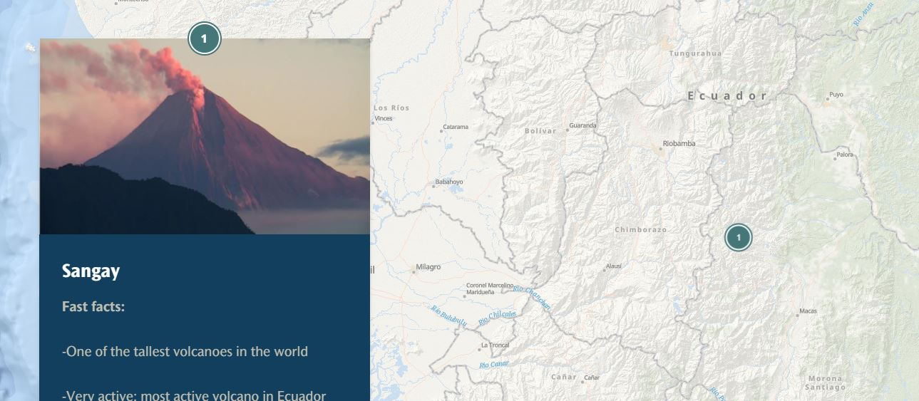 A map of Ecuador is shown with a picture of the Sanjay volcano next to it. A fast facts box says it's one of the tallest volcanoes in the world.